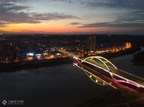 资阳原风景航拍:迎宾大桥与三贤廊桥!