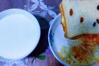 营养早餐:两块面包加煎鸡蛋一碗豆浆