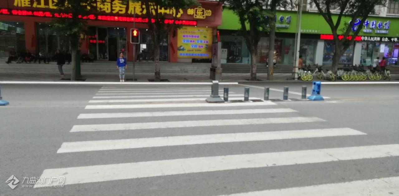 资阳雁城奇葩事:家乐福外斑马线上居然被栏杆挡住了!