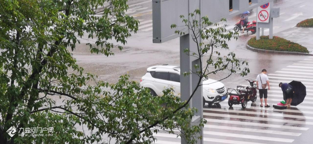 资阳幸福大道与车城大道交汇处,一小汽车撞上了过斑马线的电三轮车!雨天驾驶员朋友要注意安全!