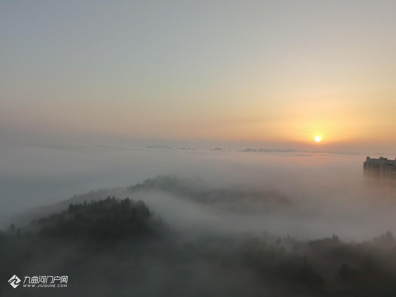 今晨资阳的日出美吗?分享我拍到的日出美景,在大雾中更有氛围感了!